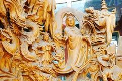 Scultura cinese di legno Fotografie Stock Libere da Diritti