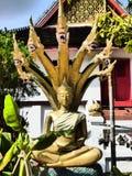 Scultura con la testa dei dragoni in Luang Prabang Fotografia Stock