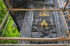 Scultura d'argento di arte di Buddha in Tailandia Fotografie Stock Libere da Diritti