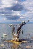 Scultura da Edouard-Marcel Sandoz a Vevey, il lago Lemano, Svizzera fotografia stock libera da diritti