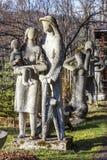 Scultura degli alpinisti della famiglia in Zakopane Fotografia Stock