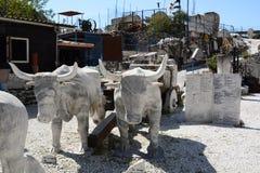 Scultura dei tori Museo della cava del marmo di Fantiscritti Alpi di Apuan tuscany L'Italia Fotografia Stock Libera da Diritti