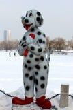 Scultura del cane nella neve Fotografie Stock
