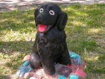 Scultura del cane nero Fotografia Stock