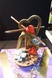 Scultura del cioccolato sul tema di amore Fotografie Stock