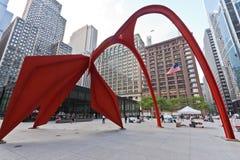 Scultura del fenicottero in Chicago Fotografie Stock Libere da Diritti