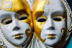Scultura del gesso delle maschere venecian Immagini Stock Libere da Diritti