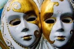 Scultura del gesso delle maschere venecian Fotografia Stock Libera da Diritti
