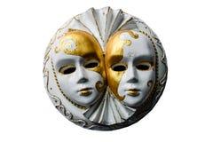 Scultura del gesso delle maschere venecian isolate su bianco Fotografia Stock Libera da Diritti