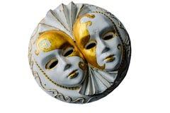 Scultura del gesso delle maschere venecian isolate su bianco Immagini Stock Libere da Diritti
