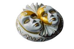 Scultura del gesso delle maschere venecian isolate su bianco Immagine Stock