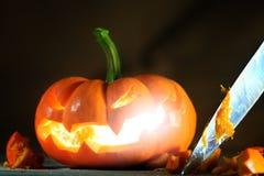 Scultura del Jack-o'-lantern Fotografia Stock