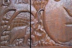 Scultura del legno dell'elefante Immagini Stock Libere da Diritti