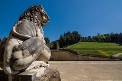 Scultura del leone al palazzo di Pitti a Firenze, Toscana, Italia Fotografia Stock Libera da Diritti