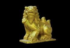 Scultura del leone dorato Fotografie Stock