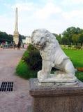 Scultura del leone nel parco di Kuskovo a Mosca Immagine Stock Libera da Diritti
