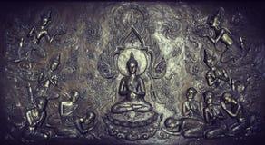 Scultura del metallo della storia di Buddha Immagini Stock