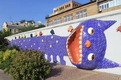 Scultura del mosaico del gatto a Kiev fotografia stock libera da diritti