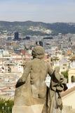 Scultura del palazzo nazionale di Barcellona fotografia stock libera da diritti