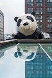 Scultura del panda di Chengdu che riflette in vetro Immagini Stock