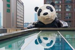 Scultura del panda di Chengdu che riflette in vetro Fotografia Stock Libera da Diritti