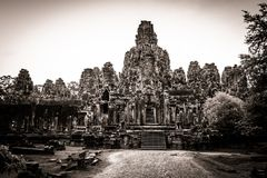 Scultura del tempiale di Bayon a Angkor in Cambogia Immagine Stock Libera da Diritti