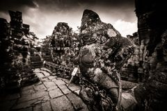 Scultura del tempiale di Bayon a Angkor in Cambogia Fotografia Stock