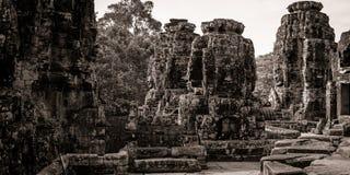 Scultura del tempiale di Bayon a Angkor in Cambogia Immagini Stock