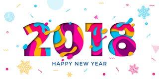 Scultura del testo della carta di vettore del fondo di 2018 del buon anno fiocchi di neve della cartolina d'auguri illustrazione di stock