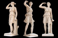 Scultura dell'isolato di Artemis del dio del greco antico Insieme di scultura d'annata con mitologia di Grecia antica fotografie stock