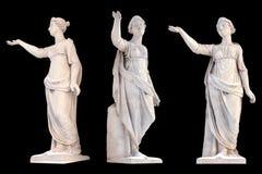 Scultura dell'isolato di Latona del dio del greco antico Insieme di scultura d'annata con mitologia di Grecia antica fotografie stock