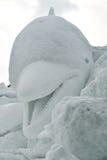 Scultura della neve del delfino Fotografie Stock