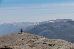 Scultura della pietra di Lysefjord Immagini Stock Libere da Diritti
