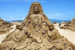 Scultura della sabbia del Buddha Fotografia Stock Libera da Diritti