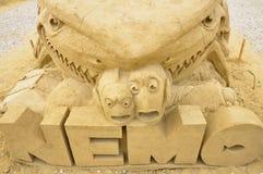 Scultura della sabbia del film di Alla ricerca di Nemo Fotografia Stock Libera da Diritti
