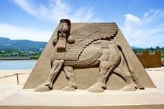 Scultura della sabbia del Pharaoh Fotografie Stock