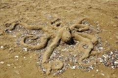 Scultura della sabbia del polipo Immagine Stock Libera da Diritti