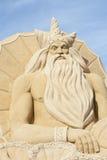 Scultura della sabbia del poseidon greco del dio Fotografia Stock