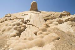 Scultura della sabbia di Gesù Cristo Immagine Stock