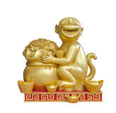 Scultura della scimmia dell'oro Fotografia Stock Libera da Diritti