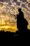 Scultura della statua del monaco del quadrato di Dayan Tanane Fotografia Stock Libera da Diritti