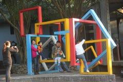 Scultura di arte nel giardino orticolo internazionale dell'Expo di Shenzhen immagine stock