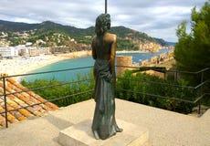 Scultura di Ava Gadner a Tossa de Mar, Spagna Fotografia Stock
