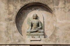 Scultura di Buddha al tempio di Mahabodhi Fotografia Stock