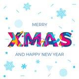 Scultura di carta di natale di Natale del buon anno del manifesto dei fiocchi di neve di vettore allegro del fondo royalty illustrazione gratis