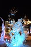 Scultura di ghiaccio di un drago Immagine Stock Libera da Diritti