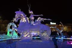 Scultura di ghiaccio di un drago Fotografia Stock Libera da Diritti