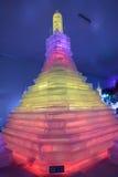 Scultura di ghiaccio, pagoda Fotografia Stock Libera da Diritti