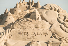 Scultura di giorno di haeundae della spiaggia di festival 2015 della sabbia di Busan Fotografia Stock