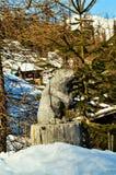 Scultura di legno in alpi svizzere Fotografia Stock Libera da Diritti